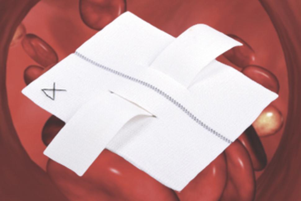 Patch Vascular de Dacron-Knitted Impregnado com Colágeno